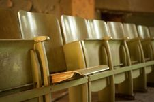 Free Old Wooden Cinema Seats Royalty Free Stock Image - 19320866