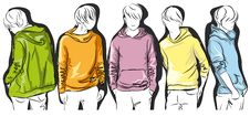 Free Sketch Of Young Men In Colorful Jackets Stock Photo - 19321110