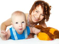 Baby Boy With Pretty Mother Stock Photos