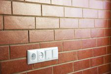Free Power Outlets On The Brick Wall / Photo Royalty Free Stock Photo - 19321985