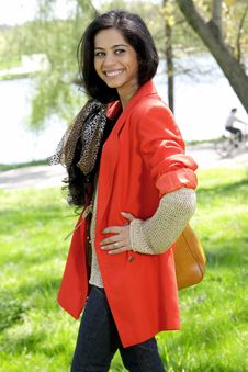 Free Beautiful Brunette Girl In Red Coat Royalty Free Stock Images - 19322279