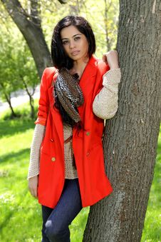 Free Beautiful Brunette Girl In Red Coat Stock Photography - 19322282