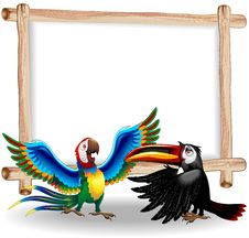 Free Macaw And Toucan Cartoon Background Royalty Free Stock Image - 19322696