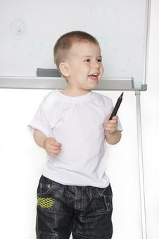 Free Boy Next To White Board Stock Photos - 19322923