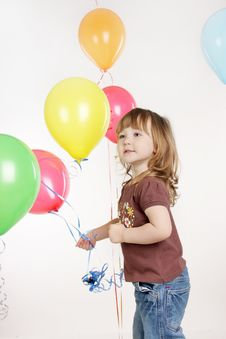 Free Young Girl With Colorful Balloons Stock Photos - 19323173