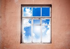 Free Closed Window With Clouds Stock Photo - 19323340