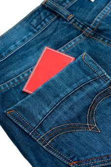 Jeans And Red Paper Over White Royalty Free Stock Photo