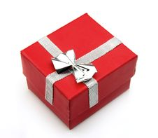 Free Red Gift Box With Silver Ribbon Royalty Free Stock Photography - 19324257