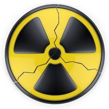 Cracked Radiation Sign. Royalty Free Stock Photo
