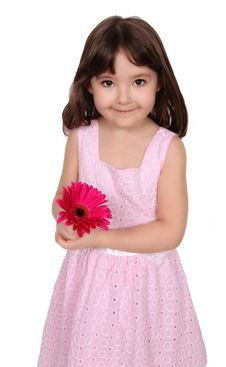 Free Sweet Little Girl Holding Vibrant Daisy Isolated Royalty Free Stock Photo - 19324885