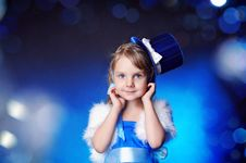 A Fairy-tale Girl Is In Dark Blue Royalty Free Stock Photos