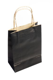 Black Paper Shopping Bag Isolated Stock Image