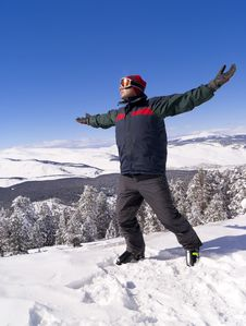 Happy Skier On The Top Of Mountain Stock Image