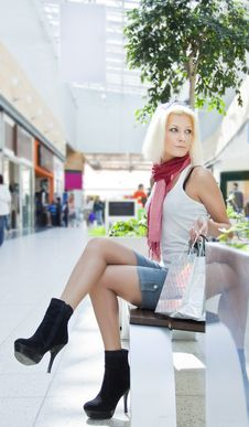 Portrait Of Woman At The Mall With Bags Copyspase Stock Images