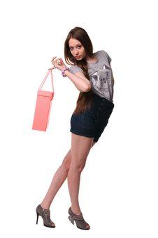 Pretty Girl Posing With Bag. Stock Photo