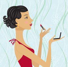 Free Pretty Brunette Applying Lipstick On Her Lips Royalty Free Stock Photos - 19326478