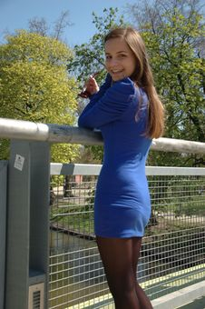 Free Happy Girl Standing On Bridge Stock Images - 19329314