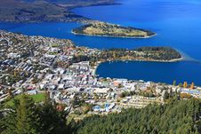 Free Aerial View Queenstown Downtown Stock Image - 19329981