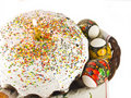 Free Easter Cake With Candle And Eggs On A Background Royalty Free Stock Photography - 19333357