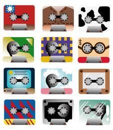 Cartoon Music Tape Icon Stock Photography