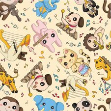 Seamless Animal Play Music Pattern Royalty Free Stock Photo