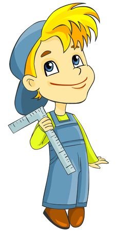 Free Boy In Overalls With A Ruler Stock Photography - 19331202