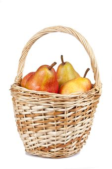 Basket With Pears Stock Image