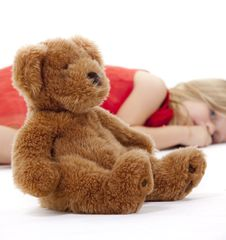 Free Teddy Bear And Resting Girl Royalty Free Stock Image - 19331686