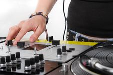 Hands Of Female DJ On Mixing Controller Stock Photo