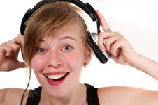 Free Portrait Of A Girl In Headphones Royalty Free Stock Photography - 19331897