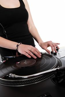 Free Female Hip-hop DJ Scratching The Record Stock Photography - 19331972