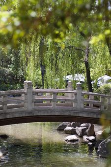 Small Bridge Over The Flowing Stream Stock Images