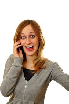 Free Attractive Woman Expressing Her Amotions On Phone Stock Photography - 19332372