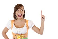 Girl In Dirndl Points With Finger At Ad Space