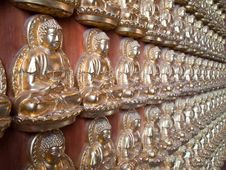 Free Many Small Buddha Statue On The Wall Royalty Free Stock Photo - 19333985