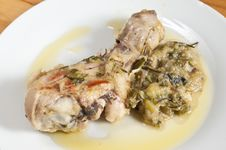 Chicken In A Pan With Onions And Zucchini Royalty Free Stock Image