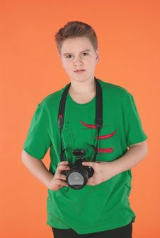 Free Boy With Photocamera Stock Image - 19335981