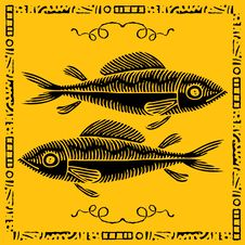 Free Fish Pair Woodcut Royalty Free Stock Photos - 19336058