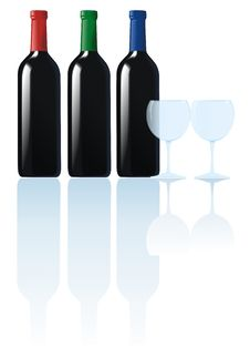 Free Wine Bottles And Glasses Royalty Free Stock Photo - 19336185
