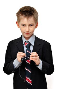 Free Boy In Suit Wrote An  Mesage Stock Photos - 19336843