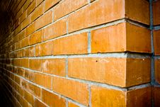 Close-up Details Of An Orange-brown Brick Wall. Stock Photography