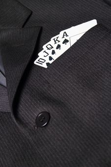 Royal Straight Flush In Suit Pocket Royalty Free Stock Photography
