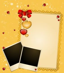 Free Envelope With Blank Photo Frame And Hearts Royalty Free Stock Images - 19337539
