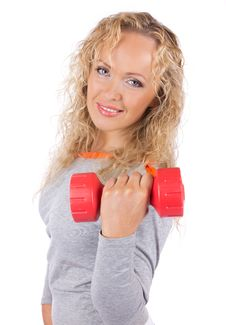 Woman Holding Weights Stock Photography