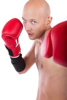 Boxer Is Punching Royalty Free Stock Photos