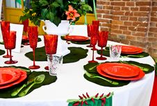 Free Dinner Table Setup - Italian Style Royalty Free Stock Images - 19338419