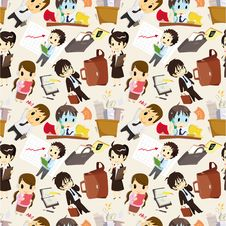 Free Seamless Cartoon Office Worker Pattern Royalty Free Stock Images - 19339019