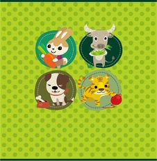Cartoon Animal Card Royalty Free Stock Photography