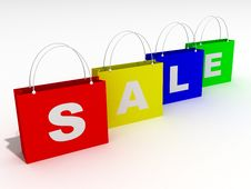 Colorful Bags For Shopping And Sale Royalty Free Stock Photo