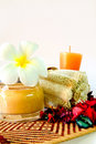 Free Spa Products With Flowers And Candles Stock Images - 19348444
